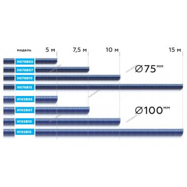 Шланг газоотводный D=76мм, длина 7,5м (синий) NORDBERG H076B07